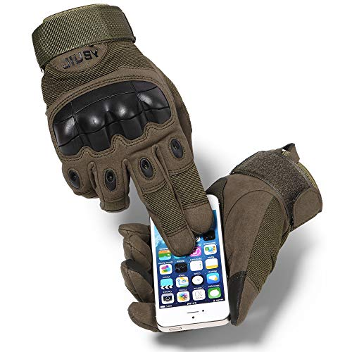 WTACTFUL Touch Screen Military Rubber Hard Knuckle Tactical Gloves Full Finger Airsoft Paintball Outdoor Army Gear Sports Cycling Motorcycle Riding Shooting Hunting Size X-Large Green