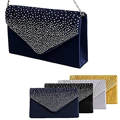 Padoora Women Sparkling Rhinestone Satin Frosted Evening Bag Handbag Clutch Purse