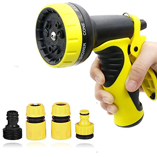 Garden Hose Nozzle/Hand Sprayer -Water Nozzle with Heavy Duty 8 Adjustable Watering Patterns Suitable for Car Wash, Cleaning, Watering Lawn and Garden – Ideal for Washing Dogs & Pets-Free Faucet Con