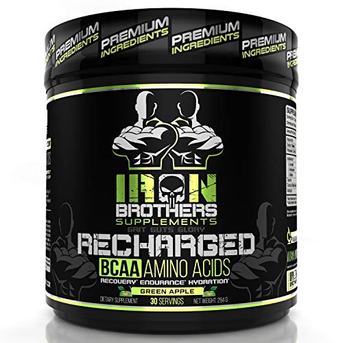 BCAA Powder Supplement – Best Intra Workout Formula – Amino Acids for Hydration – Green Apple Vegan Instaminos – All Natural Fermented – Non-GMO – Gluten-Free – Ideal 2:1:1 Ratio