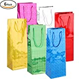 Rumcent 6 Pieces Set Paper Wine Gift Bags,Alcohol Spirits Liquor Beer Bags Totes,Wrapping Wine Bags.Wedding Birthday Party Favors -Glitter Design,Single Bottle-4.5x 3.5x 13inch
