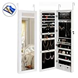 HollyHOME Mirrored Jewelry Cabinet Lockable Wall Door Mounted Jewelry Armoire Organizer with LED Light, White