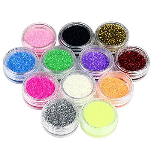 Joylive 12 x Colors Glitter Dust Powder Set for Nail Art Tip Body Makeup Decoration