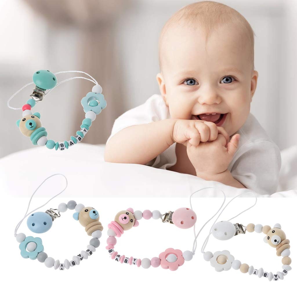 Vivitoch Baby Pacifier Clip Pacifier Chain Panda Shape Hand Made Cute Colourful Beads Dummy Clip Baby Soother Holder for Baby Kid