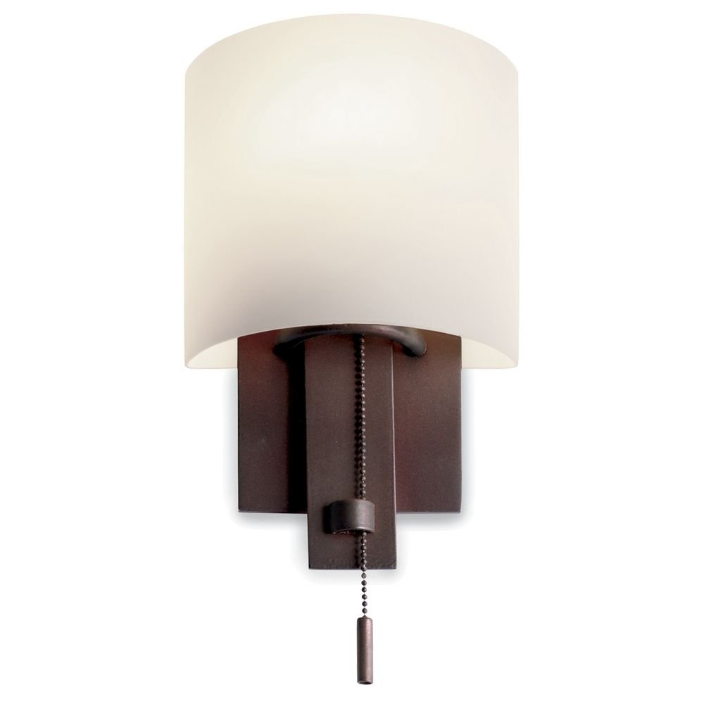 bronze wall sconce with satin nickel pull chain amazon com