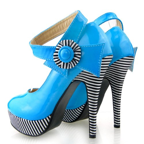 Mostrar historia flor Sexy tobillo correa raya estilete bombas zapatos de plataforma, LF30404 Azul