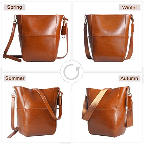Women's Brown Leather Bucket Handbags Bags Tote Leathario Purses Designer Shoulder 6dnwP