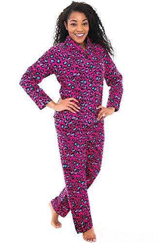 Alexander Del Rossa Womens Flannel Pajamas, Long Cotton Pj Set, 3X Pink Leopard Animal Print (A0509Q483X)