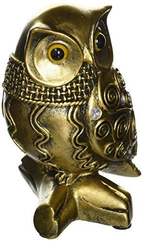 Owl Standing Statue Figure Metallic Antiqued Collectible Figurine Gift D61304