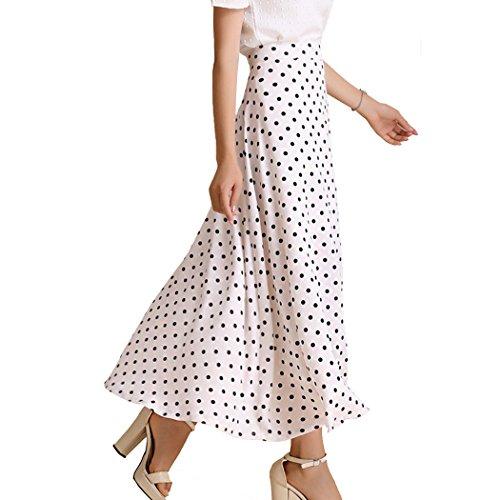 Teerfu Maxi jupe vase de style dcontract en mousseline  pois pour femme Blanc