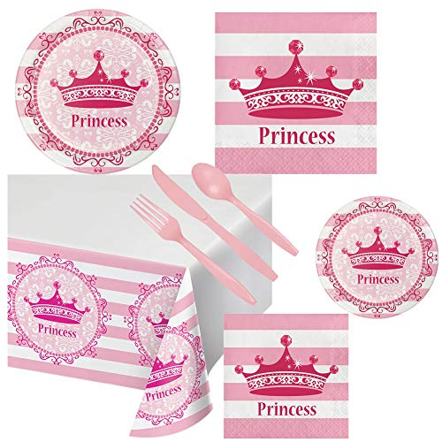 Pink Princess Supplies Royalty Birthday Party Pack Set Tableware for Girls Set Serves 16 – Luncheon & Dessert Paper Plates, Napkins, Table Cover & Cutlery Utensils – Disposable Party for Food and Cake