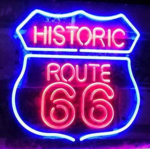 AdvpPro 2C Route 66 Historic US The Mother Road Deocration Dual Color LED Neon Sign Blue & Red 12