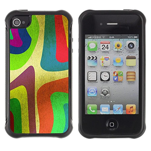 Apple Iphone 4 / 4S - Wallpaper Colorfol Neon Painting Art Stripe