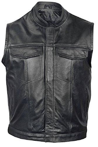 Mens Premium Leather Vest - Mens Leather Club Style Vest, Concealed Gun Pockets, Premium Bufalo Leather, Single Panel Back (Black, XL)