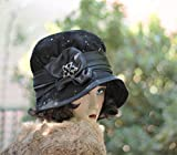1920s Vintage Style Mourning Lace Cloche Hat