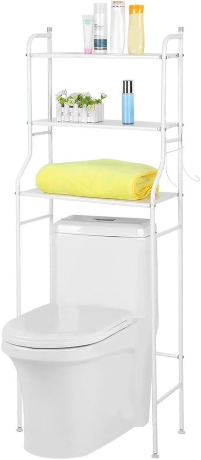Mueble Estantería Parte Superior Baño WC, 3 Estantes Armario de Almacenamiento para Cuarto de Baño de Hierro Blanco/Negro