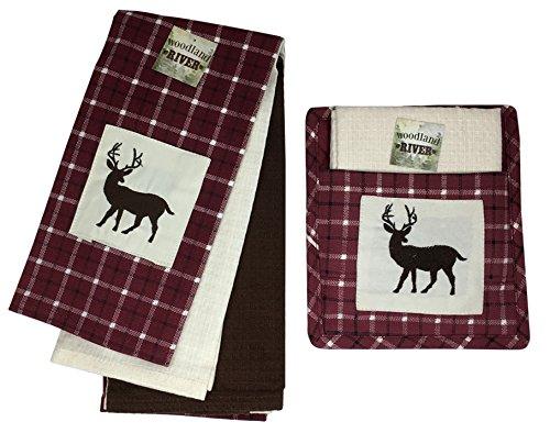 Woodland River Embroidered Dish Towel and Pot Holder, Set of 5 (Deer)