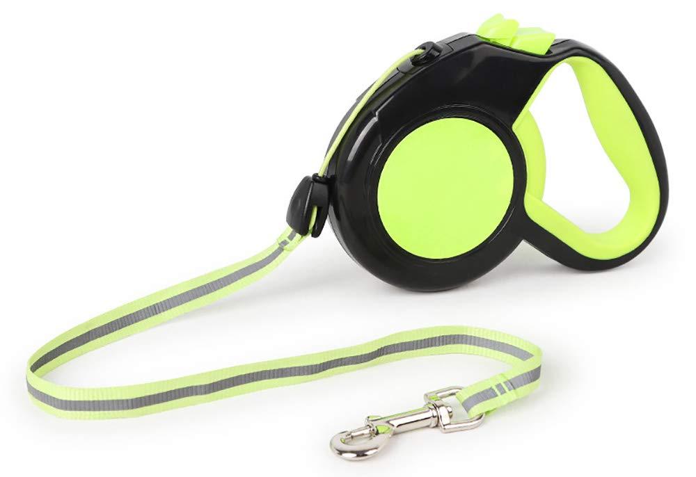 Green Large Green Large Reflective Retractable Dog Leash Anti-Slip Handle One Handed Break & Lock (Large, Green)