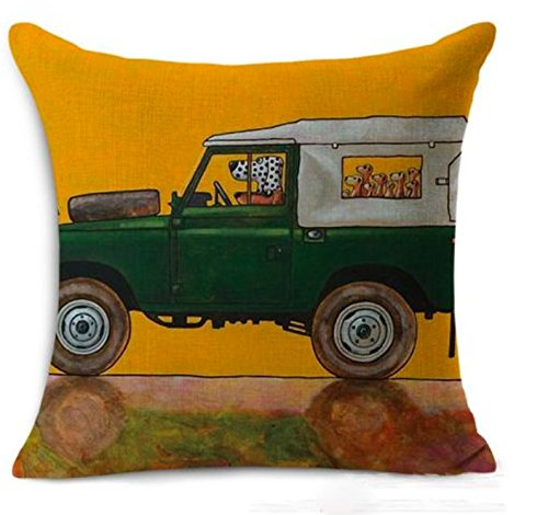 Petite Lili Decorative Pillow Case with Dog Driver Design,Cushion Cover - Bed/Kids/Sofa 18 x 18 inch, (Green Land Rover)
