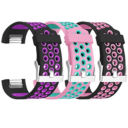 SKYLET for Fitbit Charge 2 Bands, Soft Breathable Replacement Bands for Fitbit Charge 2 Bracelet with Secure Watch Clasp (No Tracker)[Large, 3PC: Black-Purple&Pink-Teal&Black-Pink] ()