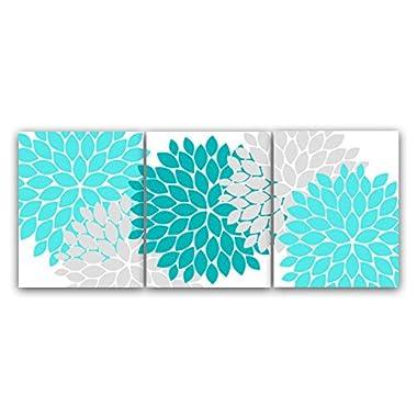 UNFRAMED PRINTS (CHOOSE YOUR SIZES) - Home Decor Wall Art, Aqua and Gray Flower Burst Art, Bathroom Wall Decor, Teal Bedroom Decor, Nursery Wall Art - HOME45
