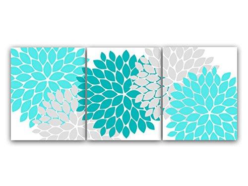 UNFRAMED PRINTS (CHOOSE YOUR SIZES) - Home Decor Wall Art, Aqua and Gray Flower Burst Art, Bathroom Wall Decor, Teal Bedroom Decor, Nursery Wall Art - HOME45 (Gray And Teal Bedroom)