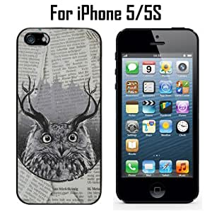 Abstract Owls Horn Minimalist Custom Case/ Cover/Skin *NEW* Case for Apple iPhone 5/5S - Black - Plastic Case (Ships from CA) Custom Protective Case , Design Case-ATT Verizon T-mobile Sprint ,Friendly Packaging - Slim Case