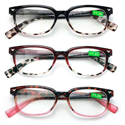 Classic Reader With Spring Hinges Half Translucent Tortoise Reading Glasses RX Magnification (All 3 Pairs, 2.00)