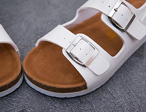 SK Studio Damen Schnalle Sandaletten Mädchen Knöchelriemchen Cork Pantoletten Ohne Absatz Weiß
