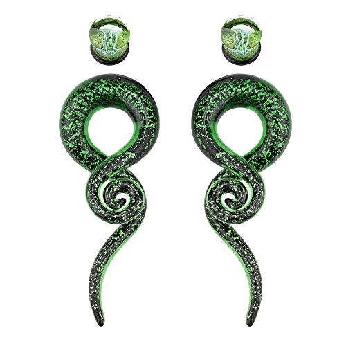 TOPBRIGHT Glass Spiral Tapers Kit with Jellyfish Ear Plugs 4 Pieces Green Glass Piercing Ear Gauges (Green-0g-8mm)