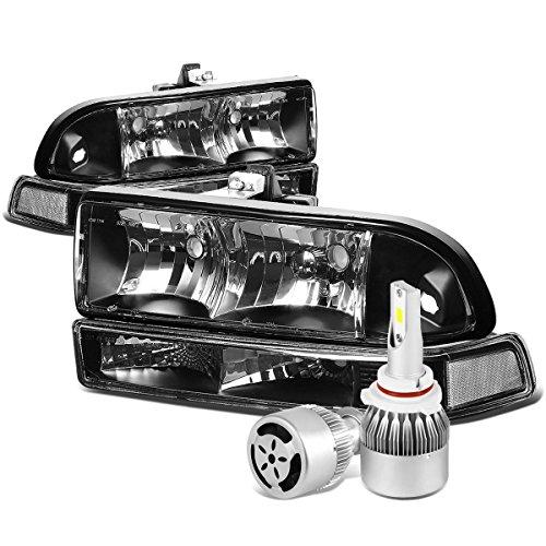 (For Chevy S10 / Blazer GMT325/330 Black Housing Clear Corner Headlight & Bumper Lamp + 9006 LED Conversion Kit W/Fan)