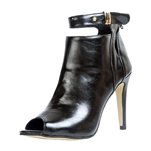 de Mujer Piel de para Vestir garlos Sandalias Negro 5WnqtPYwBH