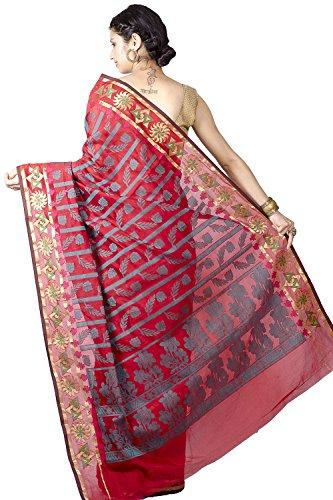 Chandrakala Women's Cotton Silk Banarasi Saree Free Size Red by Chandrakala (Image #1)