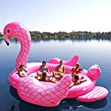 Sun Pleasure Giant Party Bird Island Flamingo - Fast Speed Pump Included - Inflatable Flamingo With Pump and Carrying Bag - use in Lake, Ocean, River, Pool Floats for up to 6 People