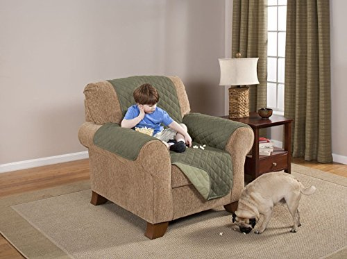 Elegante Luxurious Reversible RECLINER Furniture Protector, Olive / Sage (Sage Microfiber Recliner)