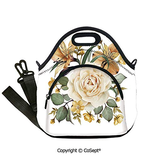 (Portable lunch bag,Romantic Floral Arrangement Bridal Bouquet Corsage Spring Wedding Theme Decorative,with Detachable Adjustable Shoulder Strap(12.59x6.29x12.59 inch) Pale Orange Cream Green)