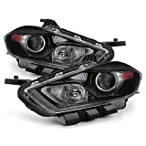 VIPMOTOZ Black Housing Headlight Headlamp Assembly For 2013-2016 Dodge Dart - [Factory Xenon HID Model] - Driver and Passenger Side