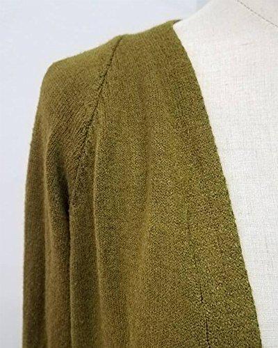 Casuale Cardigan Maglione Donna Verde Cappotto Con Maglioni Knit Lunghe Outwear Maniche Tasca qnIwFdC