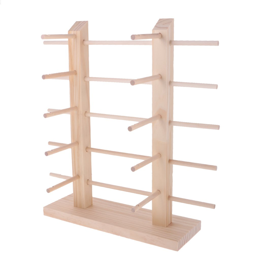 MagiDeal Natural 2-Row DIY Demountable Wood Sunglasses Display Stand Shelf Rack Glasses Frame Organizer 3/4/5 Layers - 5 Tiers