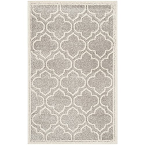 Safavieh Amherst Collection AMT412B Light Grey and Ivory Indoor/ Outdoor Area Rug (2'6