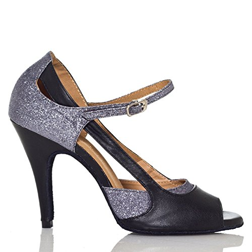 Minishion Womens Th003 Mary Jane Style Satijn Wedding Ballroom Latin Taogo Dance Sandalen Grijs