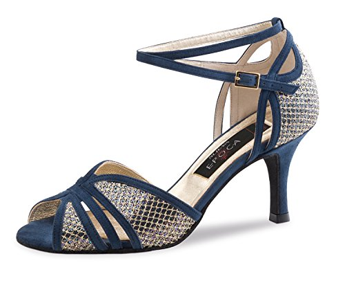 Nueva Epoca-Donna Tango/Salsa Chaussures de danse-Suède/brocart bleu/Multi-7cm
