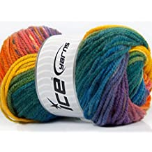 Lot of 4 x 100gr Skeins Ice Yarns MAGIC BULKY Yarn Teal Blue Purple Orange Yellow Green