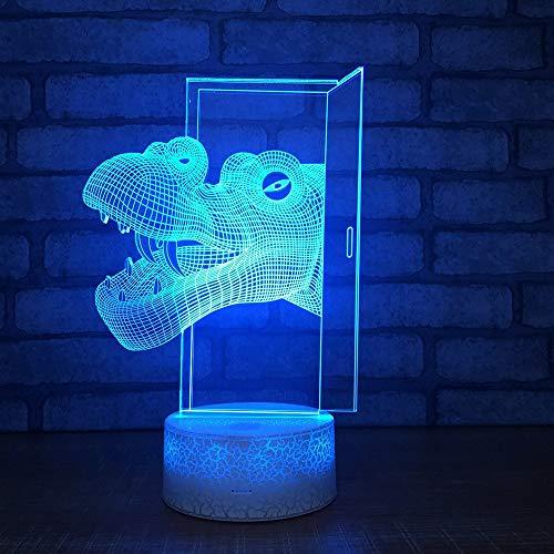 Fsewfs Cabeza De Dinosaurio 3D Luz De La Noche Dormitorio Decoración Táctil Usb Led 7 Cambiador De Color Adulto Niños...