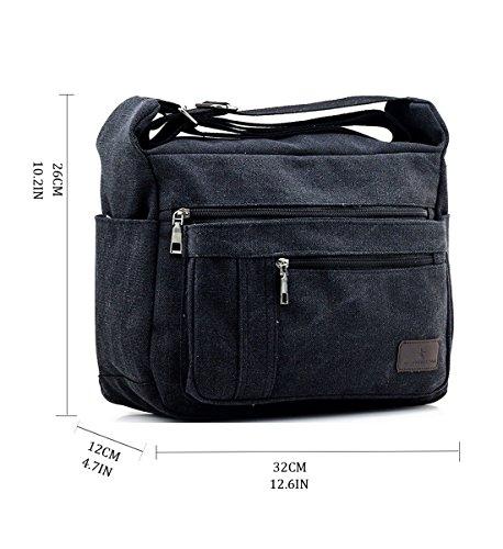 Work Messenger Bag Bag Degohome Canvas Bag Black Shoulder Small qBxYI6