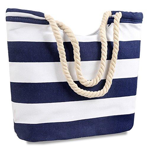 (Canvas Tote Bags for Women Stiped Handbag Handle Satchel Stripe Beach Lady Purse)