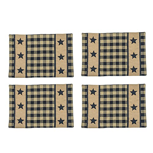 Black and Ivory Black Star Check Plaid 13 x 19 All Cotton Placemat Pack of 4