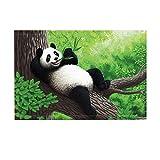 NYMB Panda Bear Bath Rugs, Panda Eatting Bamboo Lying on Wood Tree in Nature Jungle Forest, Non-Slip Doormat Floor Entryways Indoor Front Door Mat, Kids Bath Mat, 15.7x23.6in, Bathroom Accessories