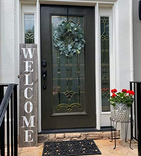 Welcome Home Door - Welcome Sign for Front Porch Made with Real Rustic Reclaimed Wood - 5 feet Tall - Fixer Upper Farmhouse barn Wood Style (Grey/White)