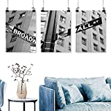 SCOCICI1588 3 Panels Triptych Street Signs Intersection Wall Street and Broadway Finance Art Destinations Photo for Home Modern Decoration No Frame 30 INCH X 60 INCH X 3PCS